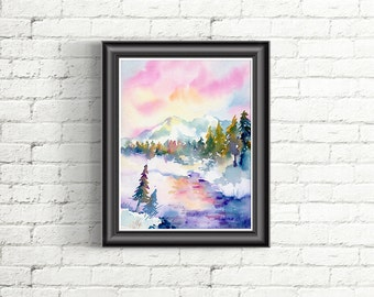 Watercolor snow stream and mountain landscape printable for instant download