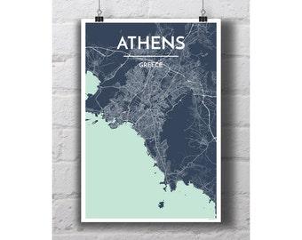 Athens, Greece - City Map Print