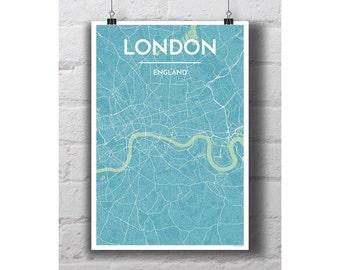 London, England - City Map Print
