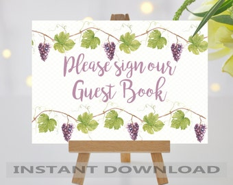PRINTABLE Wedding Sign/Guest Book Sign/Vineyard Wedding/Grapevine Wedding Sign/Grapevine/Digital File/Instant Download