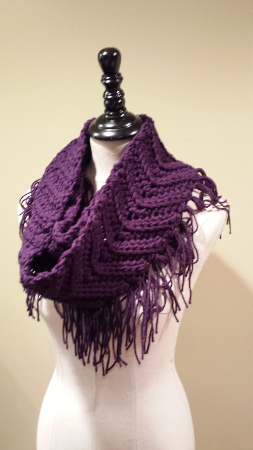 crochet fringe infinity scarf made to order by