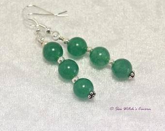Jade Earrings with Sterling Silver. Dangly Earrings. Jade Jewellery. Green Stone Earrings. Earring Gift Idea For Women. Heart Chakra. A0135