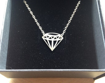 Geometric Solid Silver Diamond Necklace