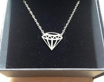 Geometric Solid Silver Diamond Necklace