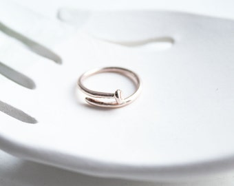 Ring gold plated nail pink / gold 18 k / silver