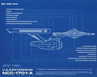 USS Enterprise Star Trek Blue Print Side View Large A1 Poster