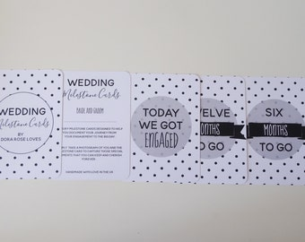 Monochrome Wedding Milestone Cards