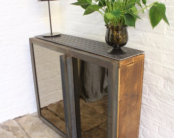 Fiona Asymmetric Mirrored Door and Reclaimed Scaffolding Board Hall Unit with Shoe Storage - Bespoke Urban Furniture by www.urbangrain.co.uk
