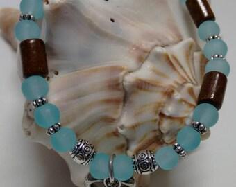 Bracelet, wood, beads, metal, Silver (5)