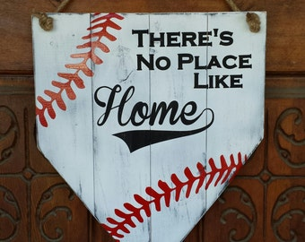 There's No Place Like Home Baseball Door Hanger - Home Plate - Baseball Sports Fan Decor - Painted Baseball Wood Sign - Sports Decor