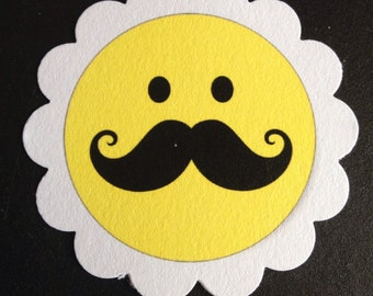 "Set of 30 2"" Mustache Face Smiley Face Treat Tags"