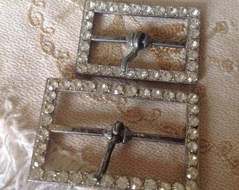 Vintage Sparkly Buckles. Diamante.