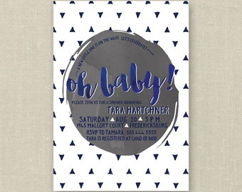 Modern Geometric Baby Shower Invitations with matching book request, navy and grey, triangles, oh baby