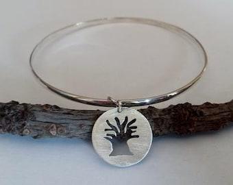 Sterling Silver Baobab Tree Charm Bangle