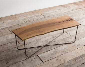 Coffee table in Walnut wood and oxidized iron Delamont (NX2)