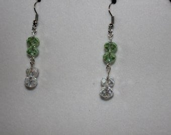 Green and clear crystal earrings