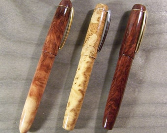 Fountain pen in wood, varnished, burl with clip
