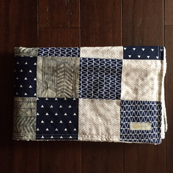 Navy And Grey Rustic Baby Boy Patchwork Minky Quilt Baby Boy