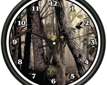 Tree Camo Wall Clock Hunter Print Military Disguise Army Redneck Gag Gift
