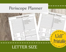 Periscope Planner Printable, Social Media Planner, Video Planner, Content video Planner, Letter Size