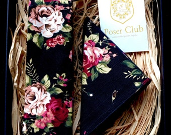 Necktie and Pocket Square 'Night Garden' Duo Set by Poser Club Black