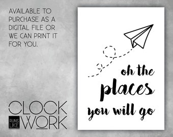 Wall Art, Prints, Home Decor, Inspirational Quotes, Nursery Prints, Printed or Digital File Available, Oh the places you will go