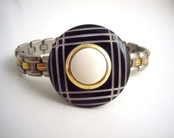 Black and White Patterned Watch Band Bracelet
