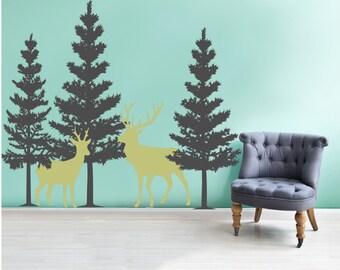 Pine Tree Wall Vinyl Decal Mural With Deer   Wall Mural   Vinyl Decal /Sticker Part 97