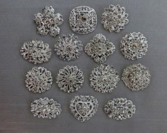 14 Crystal Rhinestone Brooches For Wedding Brooch Bouquets or Wedding Decor