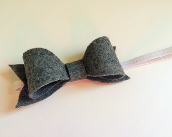 "Charcoal gray ""Susan"" bow large - headband - alligator clip"