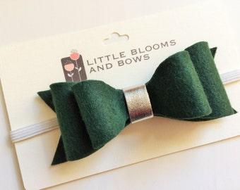 Felt bow headband - alligator clip - evergreen double bow with metallic silver center - christmas holiday