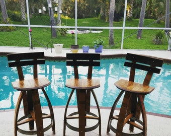 Barrel Bar Stool - Handmade Wine Barrel Bar/Kitchen Stool --See description for more details on prices!