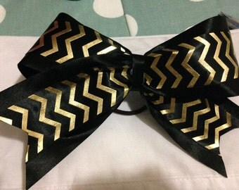 Black bow with Gold zig zags