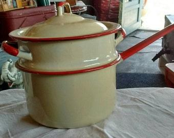 Vintage-cream-red-enamelware-double-boiler