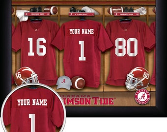 "Alabama Crimson Tide NCAA Framed Personalized Locker Room Collegiate Sports  Home  Decor 13""x16"" Inches Free Shipping"