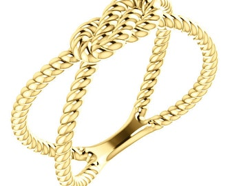 14kt Yellow Gold Rope Knot Ring Jewelry Gift