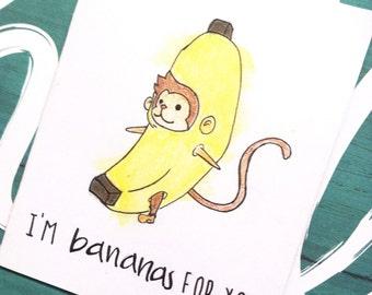 Cute Card for Boyfriend Girlfriend Husband Wife - Unique Funny Love Card with Monkey