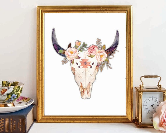 Items similar to bull skull skull wall art tribal skull for Skull home decor