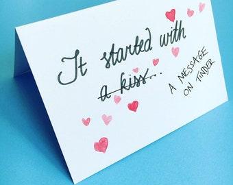 Tinder card, anniversary, Valentine's Day, POF, online dating, for boyfriend, girlfriend, personalised