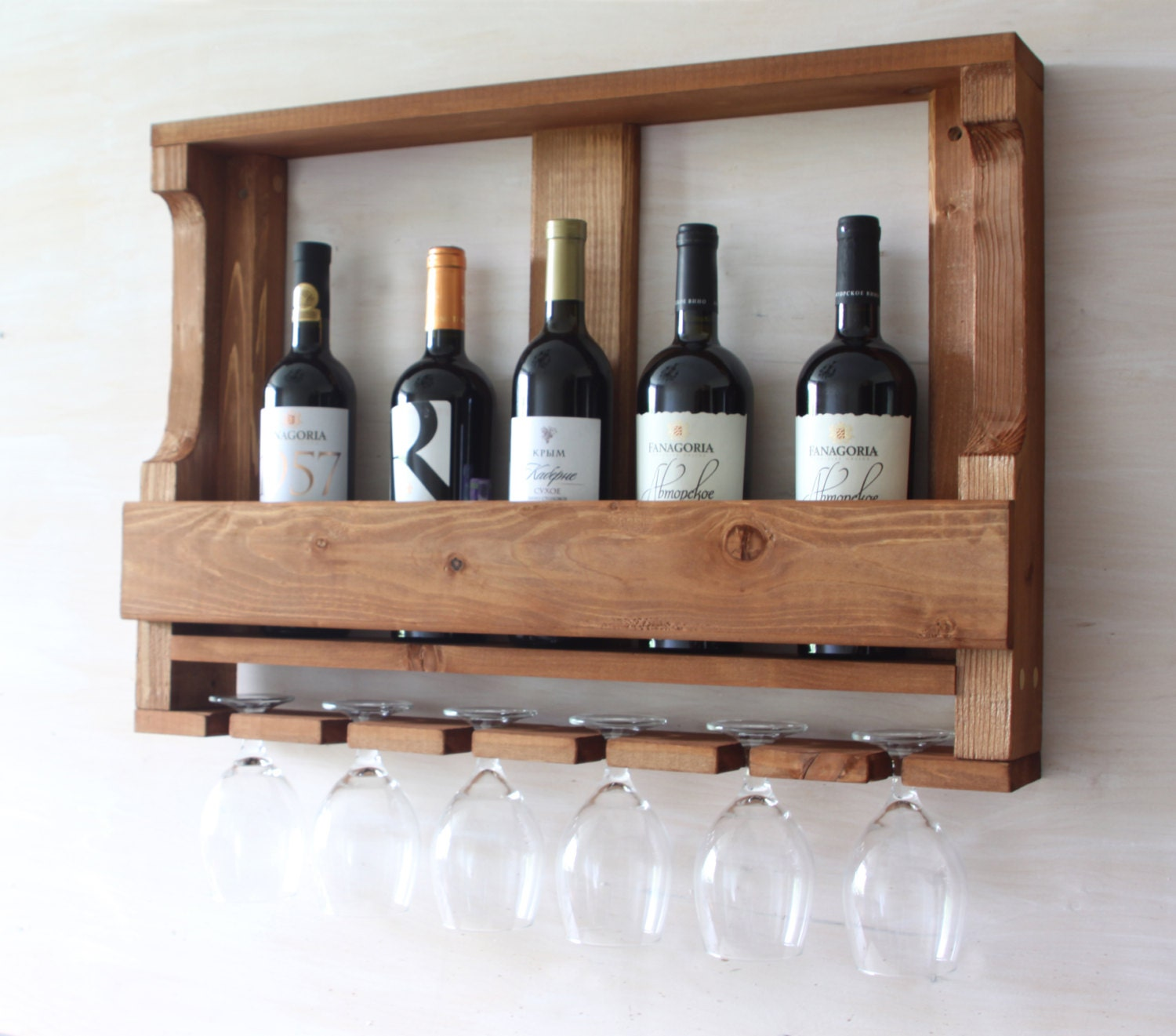 wooden wine rack kitchen shelf rustic wine rack rustic. Black Bedroom Furniture Sets. Home Design Ideas