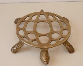 Vintage Brass turtle / tortoise trivet pot stand