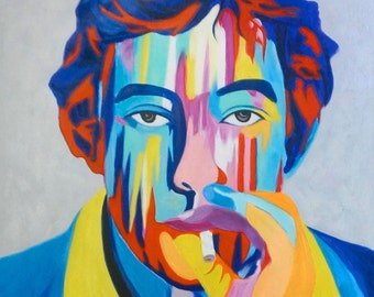 Pop Art Hero Painting Celebrity Painting. Celebrity Portrait. Original Paintings on Canvas Painting. Custom Portraits Paintings Wall Decor