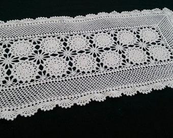 Ivory Lace Rectangular Table Runner.  Vintage Lace Table Runner. Crocheted Cotton Lace Table Runner. RBT0702