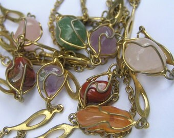 Vintage Caged Gemstones Necklace .
