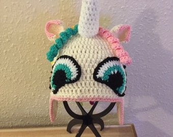 Rainbow the unicorn crocheted hat
