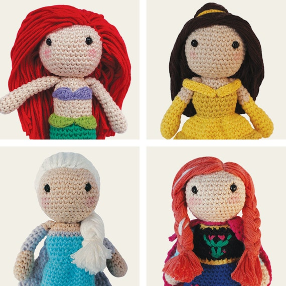 Disney Princess: Ariel, Belle, Elsa & Anna. Amigurumi Pattern PDF.