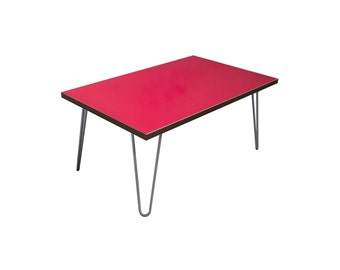 Red contemporary Coffee Table with Steel Hairpin legs
