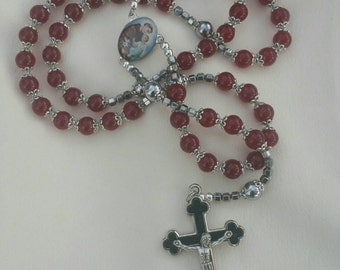 St. Anthony red glass pro 8mm rosary