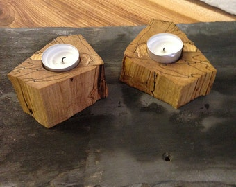 Stunning Unique Spalted Wood Tealight Holder - a beautiful addition to any home and a fantastic present for Christmas, wedding or birthday