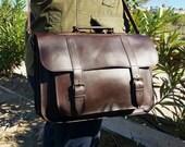 Messenger bag Leather, Handmade Laptop bag 15inch, Leather Briefcase